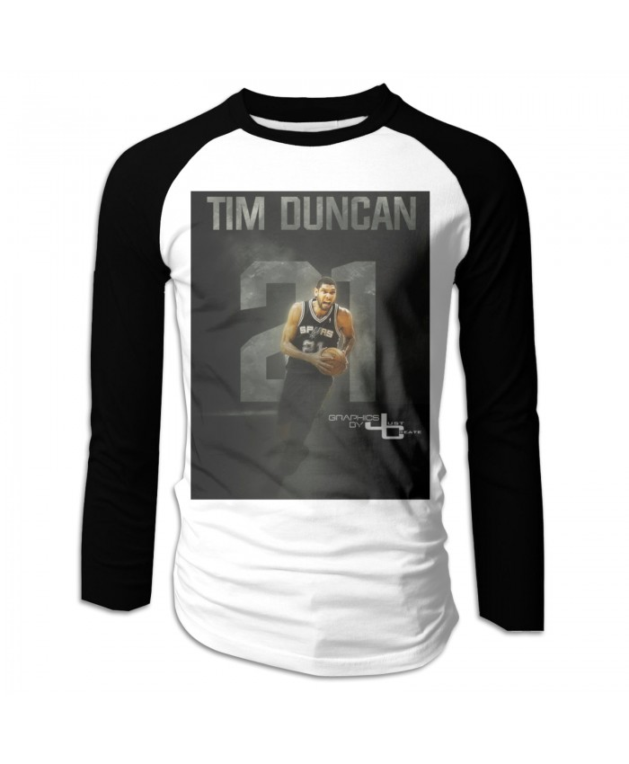 New Orleans Basketball Men's Long Sleeve Baseball T-Shirts Spurs Tim Duncan Graphics By Justcreate Sports Edits Black